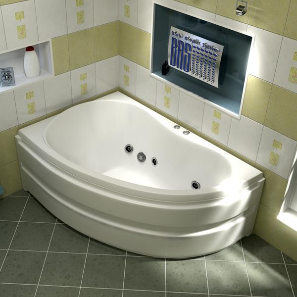 Ванна акриловая с гидромассажем BAS Алегра 150х90 см