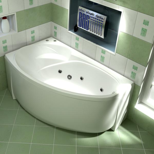 Ванна акриловая с гидромассажем BAS Фентази 150х88 см