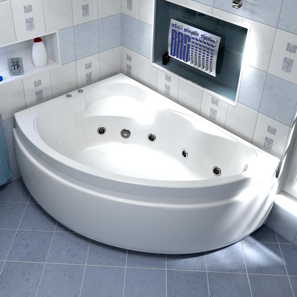 Ванна акриловая с гидромассажем BAS Лагуна 170х110 см