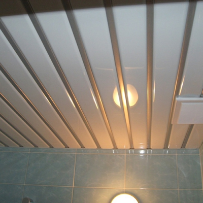 Комплект реечного потолка 1.72х1.7 белый глянец+серебро металлик - 172х170 см Россия Бард
